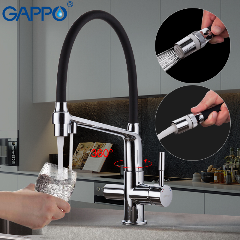 GAPPO Robinets De Cuisine pull out robinet de cuisine flexible noir chrome évier mélangeur robinet d'eau pour la cuisine purificateur d'eau robinets
