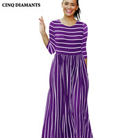 CINQ DIAMANTS Women Casual Maxi Long Dress Striped Black Green Dress Female Red White Pleated Dress