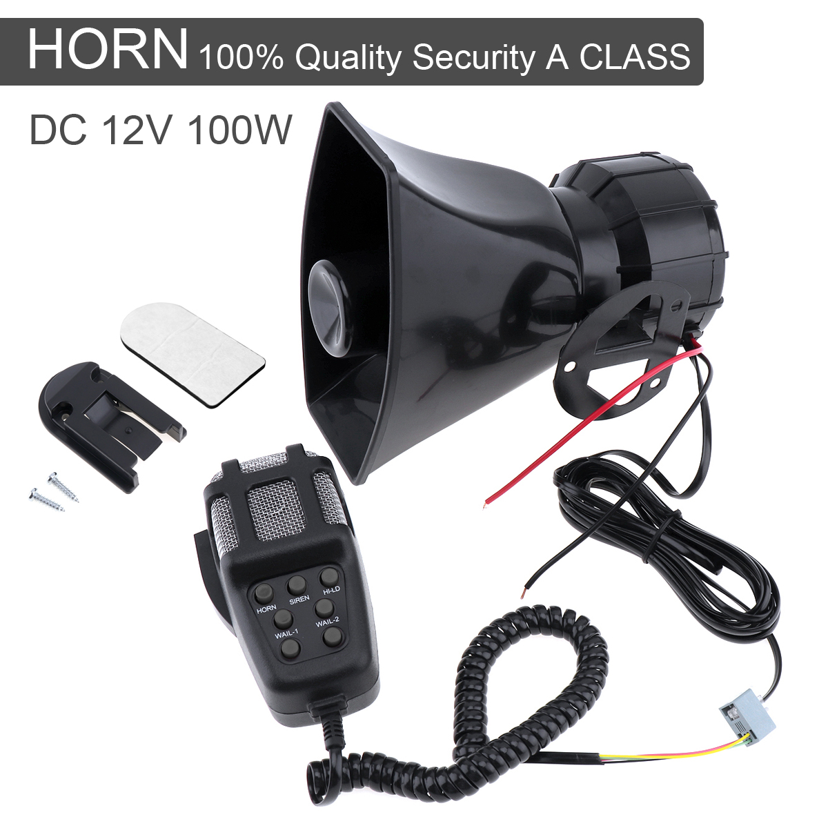 medium resolution of 100w 12v 7 sound auto car alarm horn electronic warning siren motorcycle alarm firemen ambulance loudspeaker with mic in multi tone claxon horns from