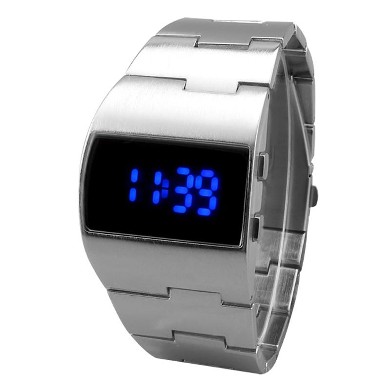 Prix pour 2016 Unique de Fer Hommes montre En Acier Bleu Rouge Numérique LED de luxe militaire Mode sport Robe Montre-bracelet Nouveau Mâle horloge