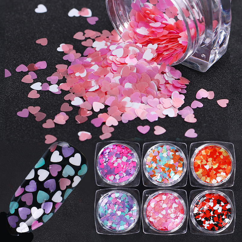 Heart Shape Nail Sequins Flakes Pink Purple Mixed Size Multis