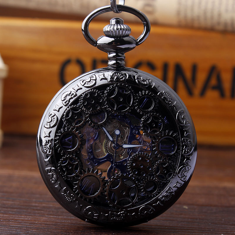 Retro Design Hollow Gear Fob Mechanical Watch Vintage Black Pocket Watch Waist Chain Men's Women Hand Winding Relogio De Bilso men mechanical pocket watch roman classic fob watches flower design retro vintage gold ipg plating copper brass case snake chain