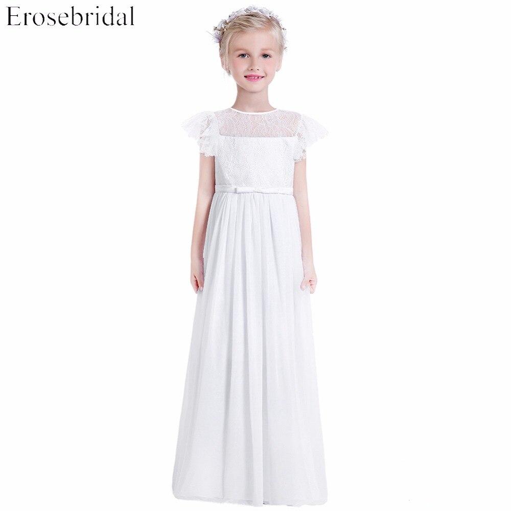White Chiffon Flower Girl Dresses Children Summer Wear Clothing