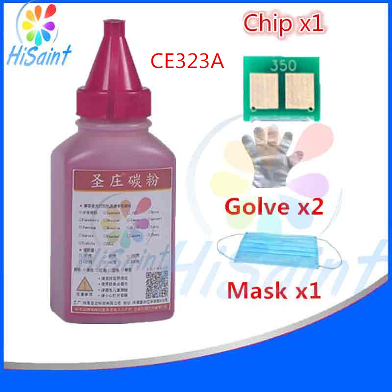 1C For HP CE323A Cyan Toner Powder And Chip Glove Mask LaserJet CM1415fn MFP/CM1415fnw MFP Printer New Arrivals