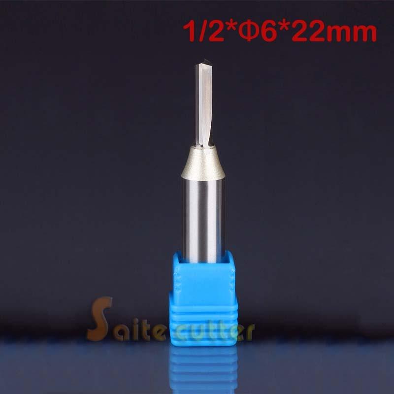 цена на 1pc TCT Double Flute Straight Slot Carbide Cutters CNC Router woodworking Bits 1/2 12.7*6*22mm