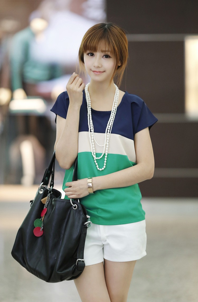 Korean Girl Lady Crew Neck Batwing Sleeve T-shirt Spell Color Chiffon Loose Tops