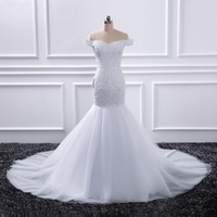 100% Real Picture Beading Pearls Appliques Body Lace Organza More Layers Tulle Skirt Mermaid Wedding Dresses Mariage 2019