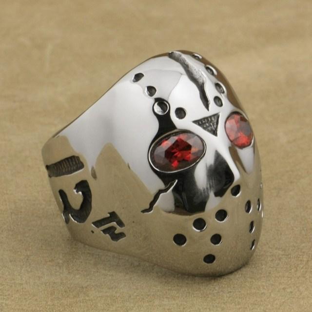 316L acier inoxydable Halloween Jason masque Hockey rouge CZ yeux hommes anneau 3F301A