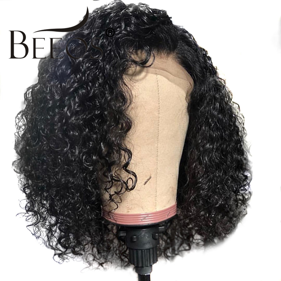 Beeos Glueless Curly Lace Front Human Hair Wigs Pre Plucked Brazilian Remy Hair Lace Wig With