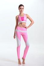 women's sports suits 2pcs set pink   yoga bra top gym yoga pants leggins women sport leggings fitness clothes gym-clothing