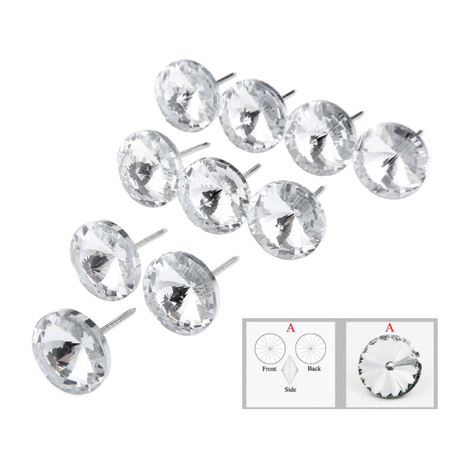 DRELD 10Pcs Diamond Crystal Upholstery Nails Decorative Button Tack Studs Pins 20mm Dia Sofa Wall Decoration Furniture Accessory