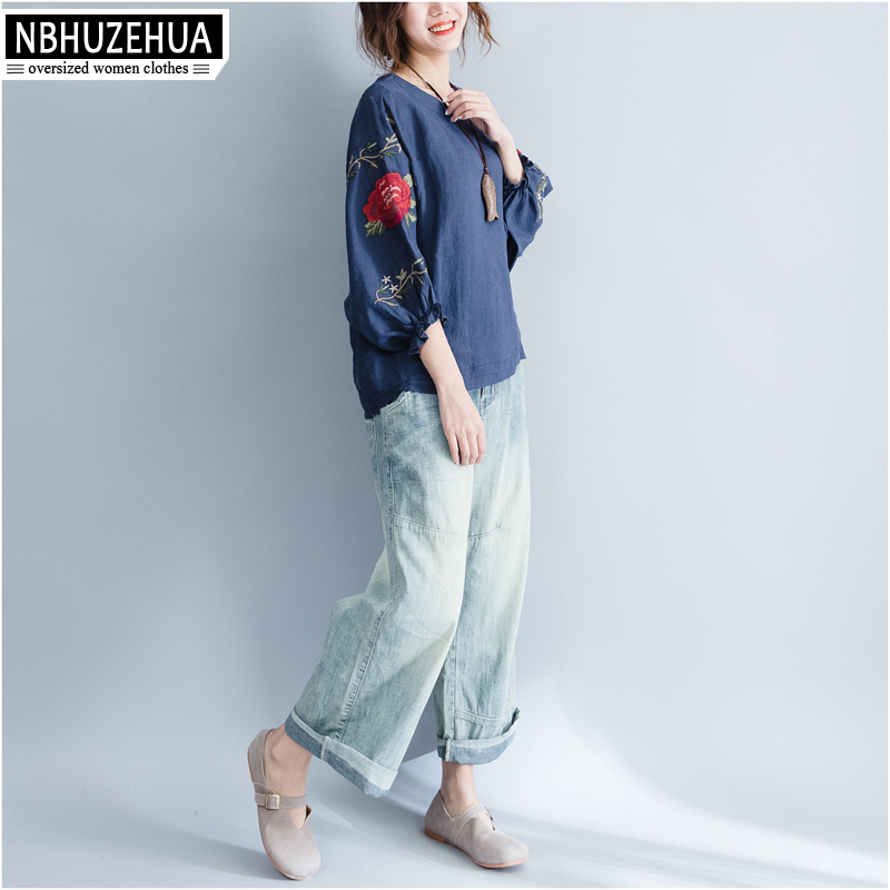 NBHUZEHUA T960 4XL 5XL 6XL Vintage Flower Embroidery Women s Shirts Large  Size Cotton Linen Blue White Blouse Plus Size Clothing-in Blouses   Shirts  from ... 4fd1c07326f5