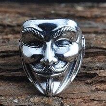 Злой для мужчин смайлик уход за кожей лица металлический череп маска кольцо нержавеющая сталь цвет Байкер модные украшения