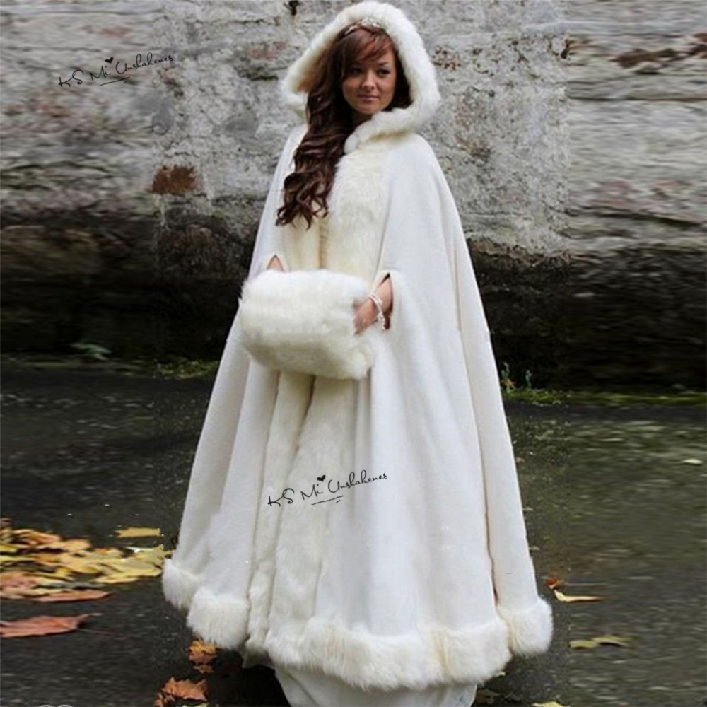 4 Of The Best White Winter Wedding Themes Wedding Ideas: Long Warm Women White Ivory Faux Fur Winter Christmas