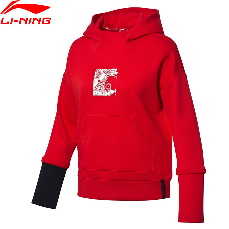 Li-Ning Women The Trend Hoodies Loose Fit 66%Cotton 34%Polyester Leisure Li Ning LiNing Sports Hooded Pullovers AWDP106 WWW1014