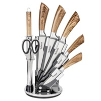 Velaze Knife Sets 8 Piece Stainless Steel Kitchen Set with Sharpener and Spinning Block Wood Color