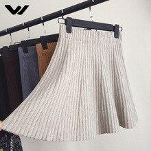 Skirts Women Autumn Winter Knitting Casual Slim A-line Short Skirts High Waist Ruffles Tartan Faldas Mujer Moda 2018