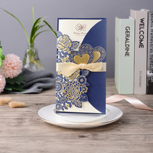 25pcs Blue Laser Cut Wedding Invitations Card Rose Heart Greeting Cards Customize Envelopes with Ribbon Party Decoration
