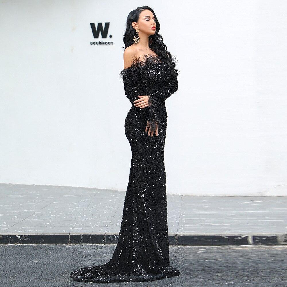 Plumes Robe Soirée Paillettes Gros Femmes Bretelles Corps Cou Party Noir En Sexy De Celebrity Mode Pleines Nu Con Dos Robes Slash 8x1vwqYB