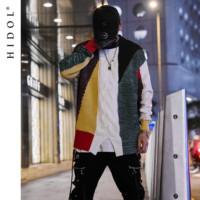 Зима негабаритных контраст Цвет полосой свитера сращены лоскутное High Street шерсть пуловер свободные хлопковые пальто Для мужчин хип-хоп плюс