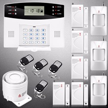 2016 Wireless GSM Home Alarm System Russian Spanish Voice Metal Remote Control Door Contact PIR Motion Detector Wired Siren Kit