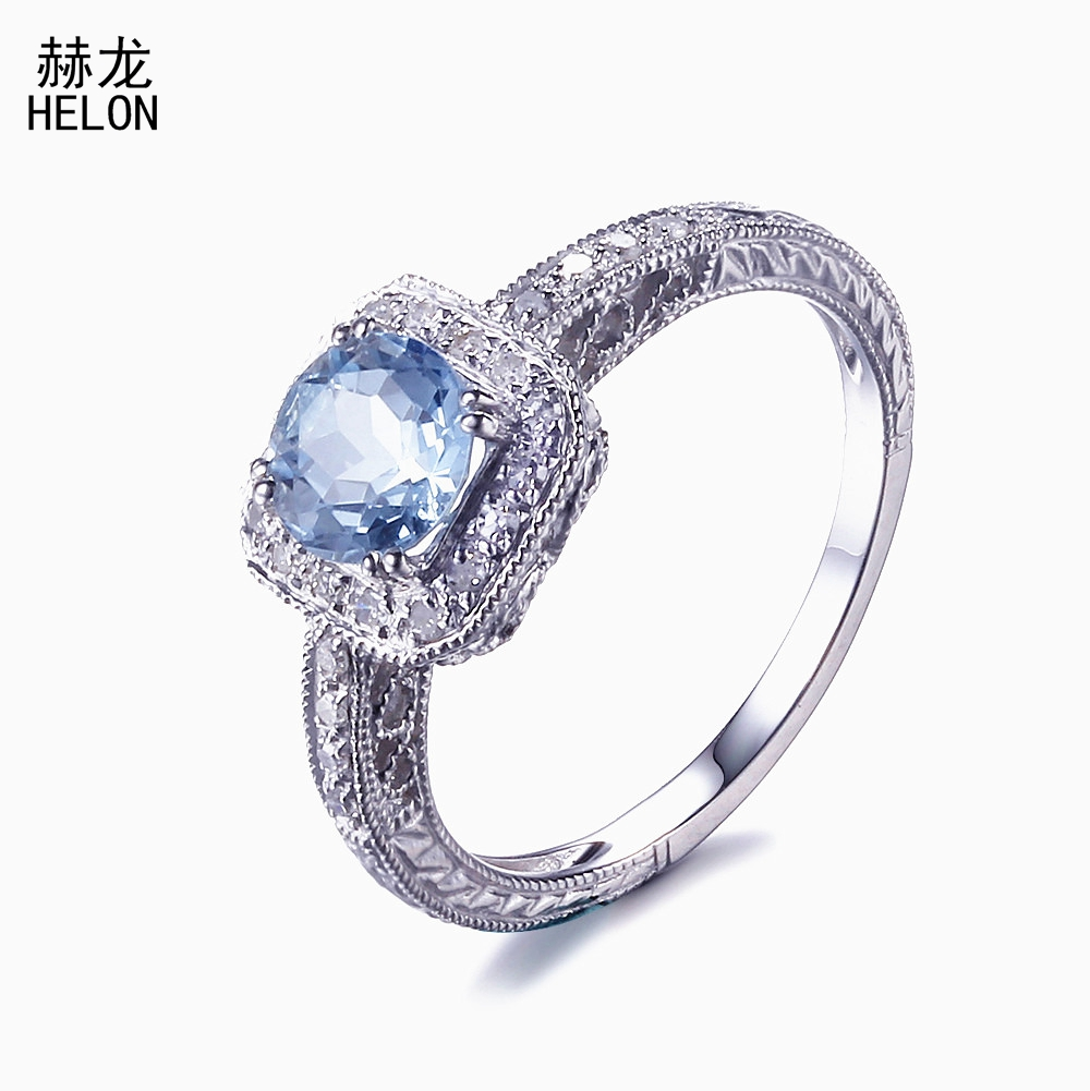 SOLID 14 К Белое золото 6 мм круглый голубой топаз природных алмазов тонкой текстурой кольцо Винтаж под старину Обручение тонкой кольцо ювелирн