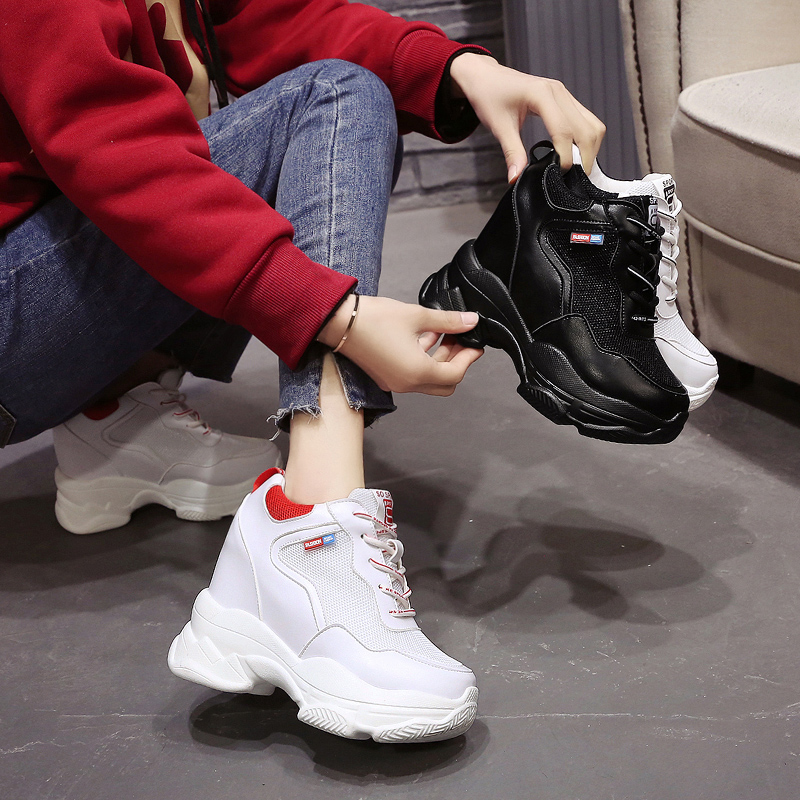 Dropshipping Women Sneakers Mesh Casual Platform Trainers Heels Wedges Breathable Woman Height Increasing Shoes GZXX084