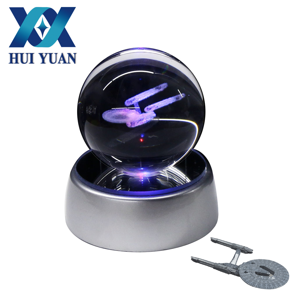 Star trek 5CM Crystal ball Desktop Decoration Light Glass Ball LED Colorful Base Lamp for Decorative Gift By HUI YUAN star wars millennium falcon 3d lamp led remote control night light usb decorative table lamp interesting gift hui yuan brand