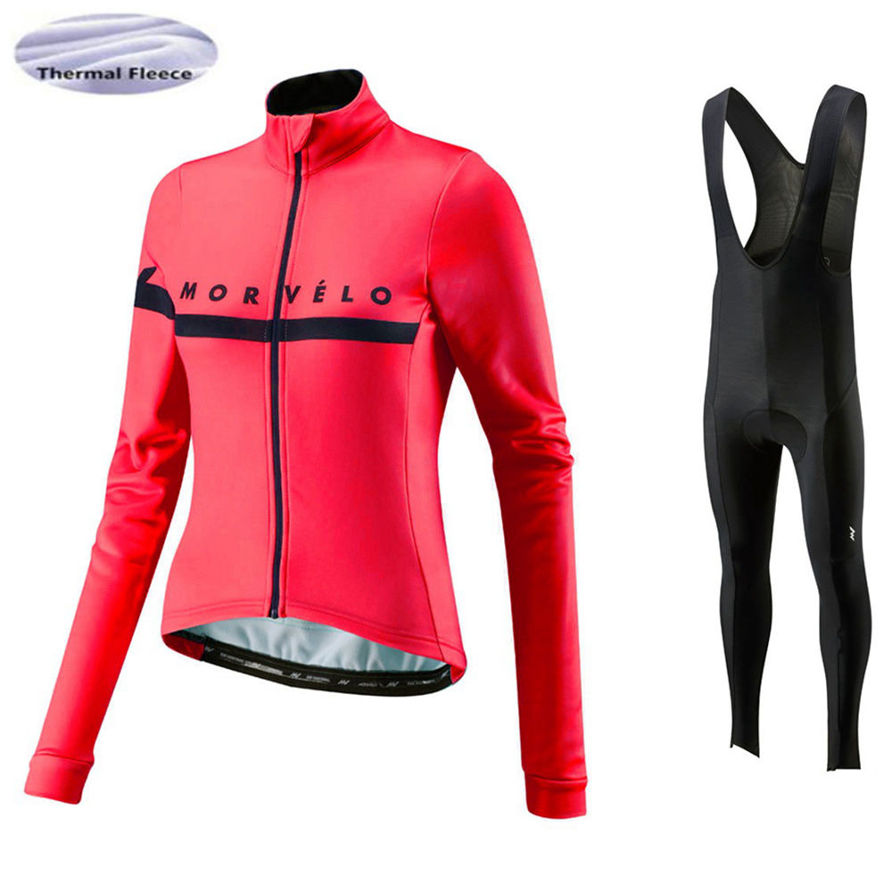 Morvelo 2018 女性の冬のサイクリングジャージ乗馬パンツセット Ropa Ciclismo サーマルフリース自転車ロング乗馬着用服暖かい  グループ上の スポーツ & エンターテイメント からの サイクリングセット の中 1