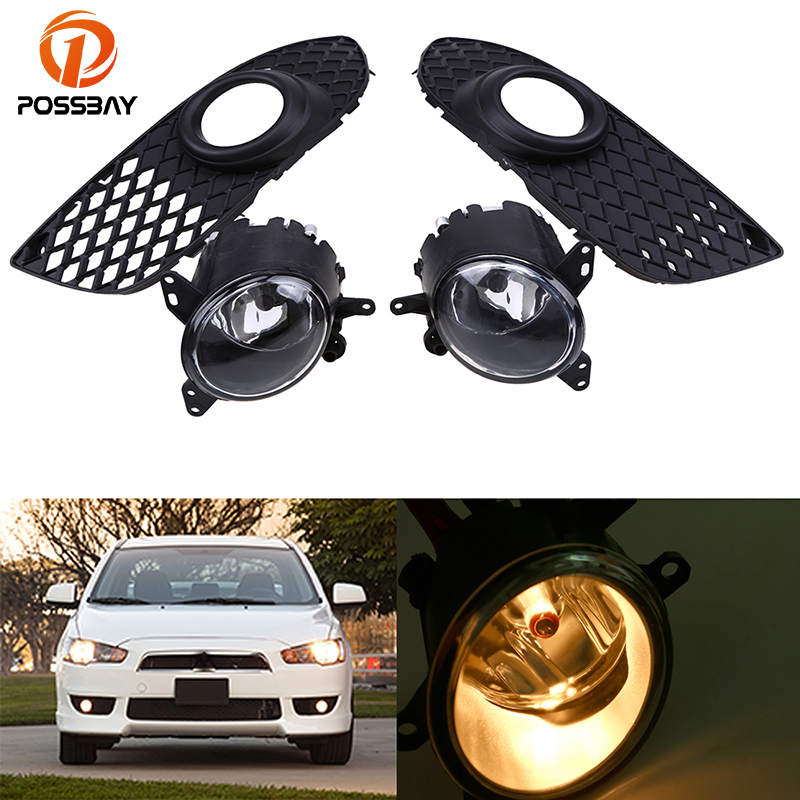 POSSBAY H11 55W Car Front Fog Driving Lights Lower Bumper Grille Cover Trim Fit for Mitsubishi Lancer 2008-2014 with Wire Switch for infiniti fx35 37 45 50 ex35 37 h11 wiring harness sockets wire connector switch 2 fog lights drl front bumper led lamp
