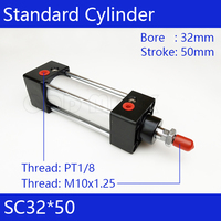 Free Shipping Standard Air Cylinders Valve 32mm Bore 50mm Stroke SC32 50 Single Rod Double Acting
