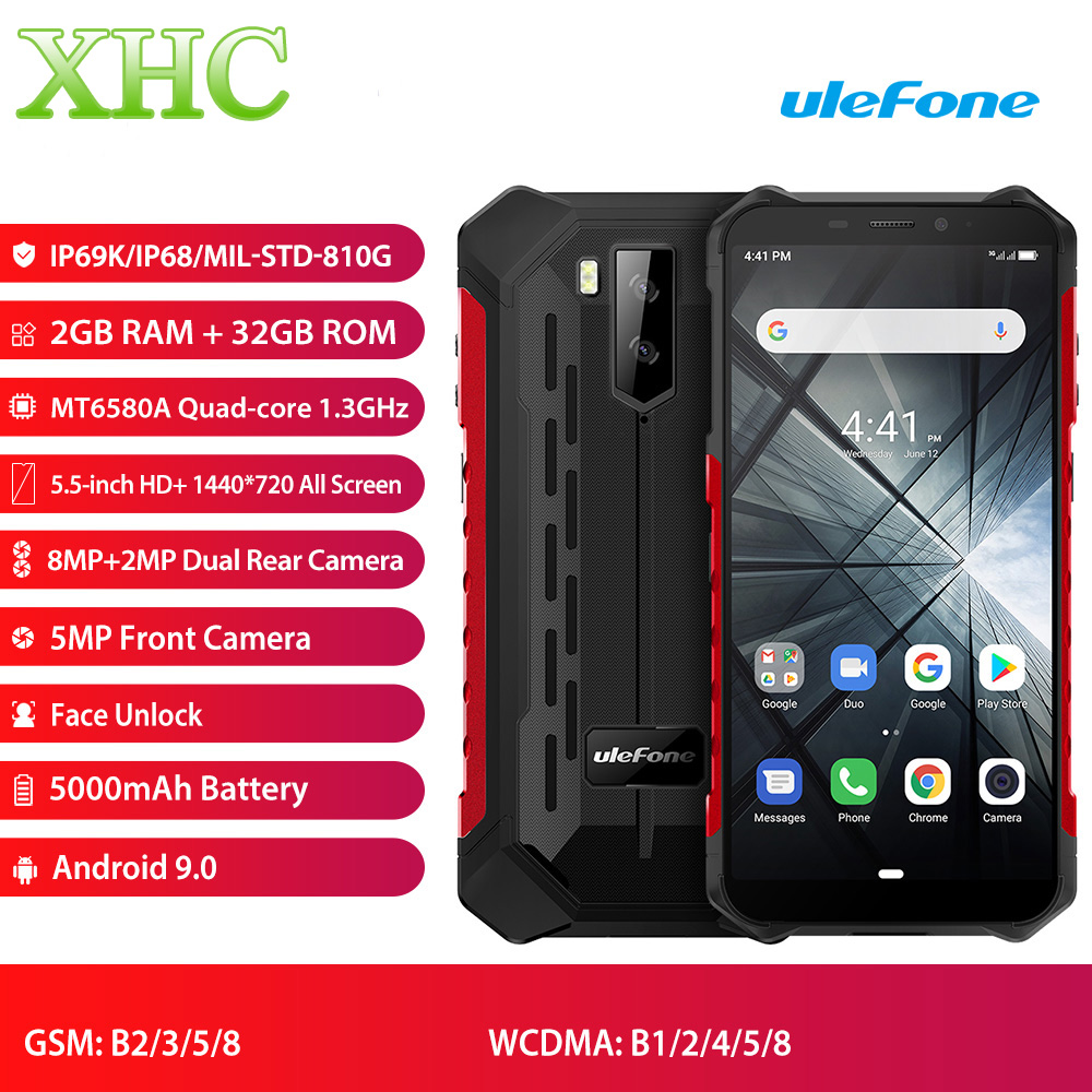 Original Ulefone Armor X3 Android 9.0 Smartphone RAM 2GB ROM 32GB 5.5'' Quad Core IP68 Waterproof Face ID Dual SIM Mobile Phone
