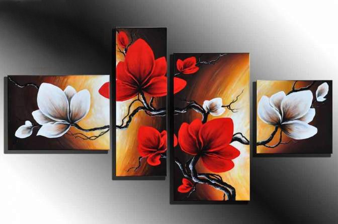 100 Hand made promotion bloom sky red Flowers High Q Abstract landscape Wall Decor Oil Painting