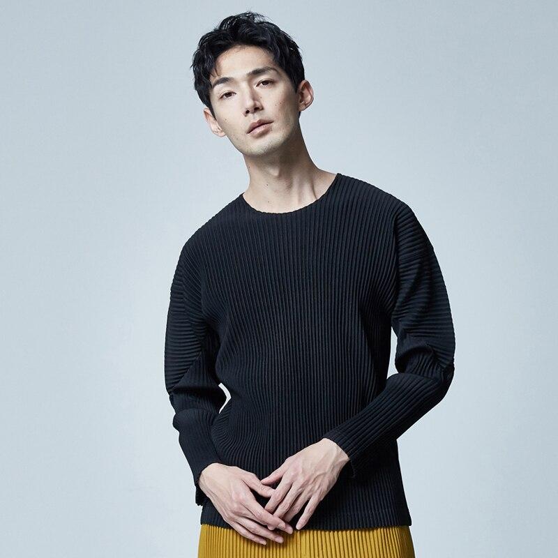 Miyake's nouveau vêtements bas chemise printemps mode japonais plié à manches longues T-shirt livraison gratuite