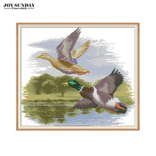 Joy Sunday Fly Side By Cross Stitch Patterns Aida Canvas Set for Embroidery Count DIY Needlewrok DMC Thread Stitched