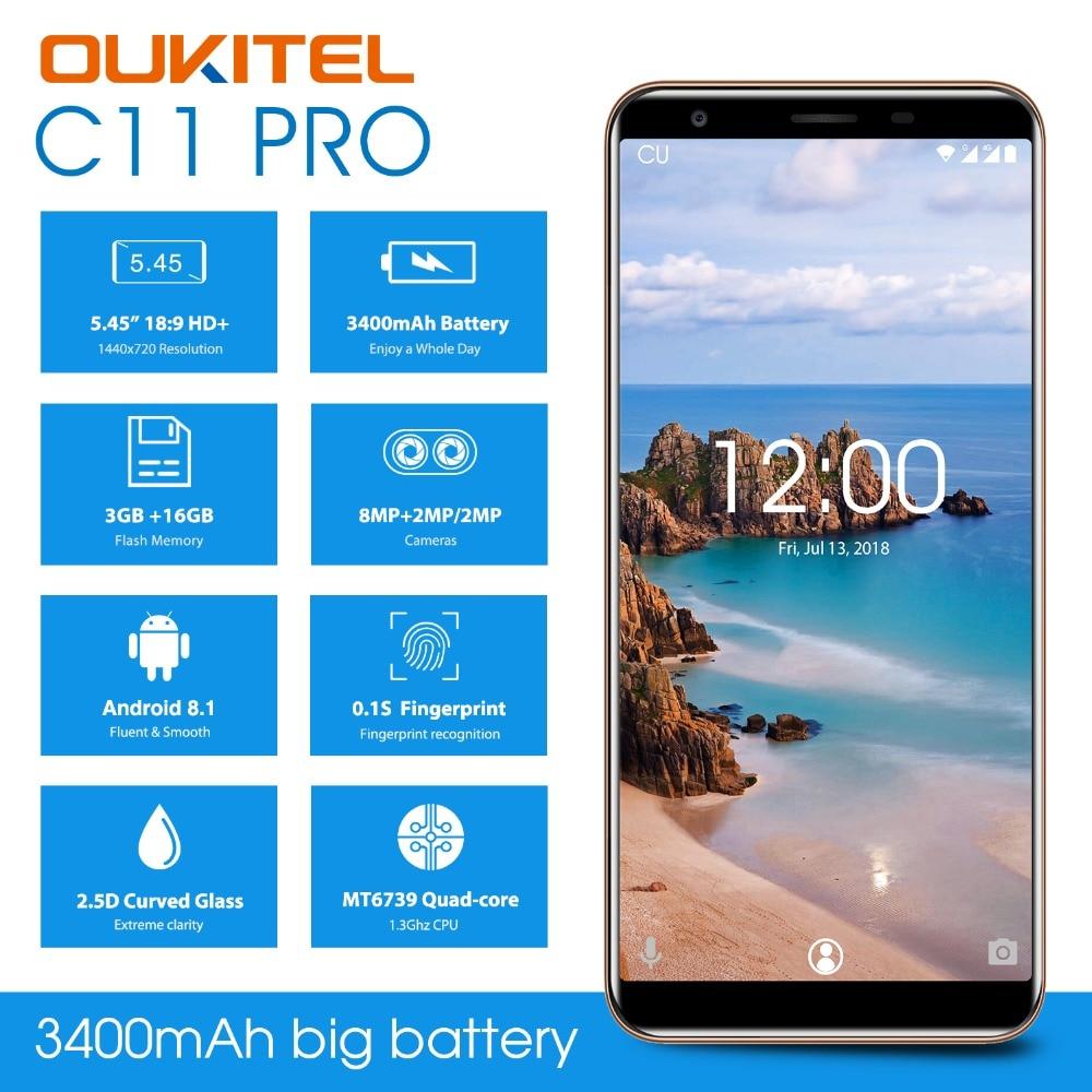"OUKITEL C11 Pro 5.5"" 18:9 Android 8.1 Mobile Phone MTK6739 Quad Core 3G RAM 16G ROM 8MP+2MP/2MP Fingerprint 4G LTE Smartphone"