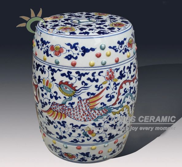 Antique Chinese HAND PAINTED Plum Blossom Blue and White Ceramic Garden Furniture Stool wildwood lamps 292499 antique finished ceramic hand made and glazed tang horse braying