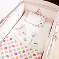 7Pcs/Set Cotton Pink Baby Bedding Set Cartoon Crib Bedding Set for Girls Detachable Cot Quilt Pillow Bumpers Fitted Sheet