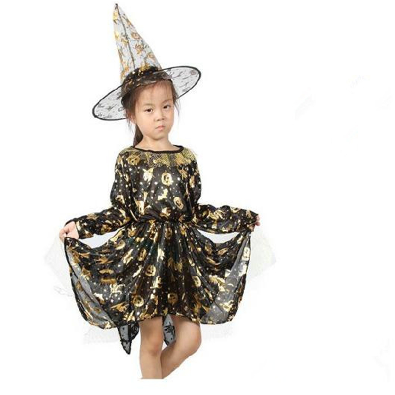 Halloween Cosplay Costume Children's Holiday Show Clothing Girl Witch Dress Cloak Cloak Hat Children Gift