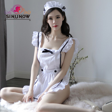 Sexy  Maid Costume Teddies Bodysuit Exotic Lingerie Lenceria Porn Women Clothing Nightwear Cosplay Uniforms