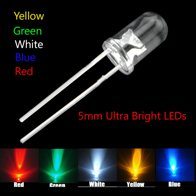 5 colors x100pcs =500pcs New 5mm Round Super Bright Led Red/Green ...