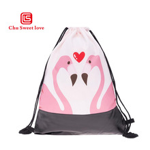 New Style Leather Print Love Flamingo Drawstring Pocket Hot Women Cute Ladies Drawstring Bags Fashion Girl Gift 2018