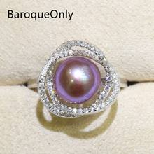 BaroqueOnly Zircon Inlaid 925 Rings Natural Color Freshwater Pearl 9-10mm Edison Pearl Ring Half-baroque Fashion Jewelry RI&RJ