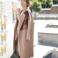 JOEYOUNG Women plaid long coat long sleeve woollen overcoat loose outwear female winter autumn trench coats plus size