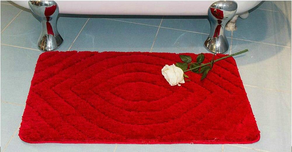 NiceRug tapis de salle de bain antidérapant rouge foncé microfibre tapis de salon tapis de sol/tampons pour la décoration de la porte de plancher de cuisine - 2