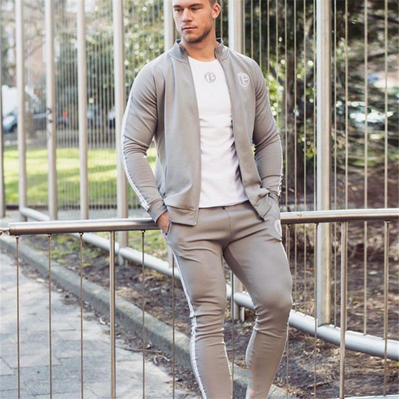 male tracksuit sporting suits mens fashion men trainingspak survetement Mens Sportswear Hooded Tracksuit Gyms Set