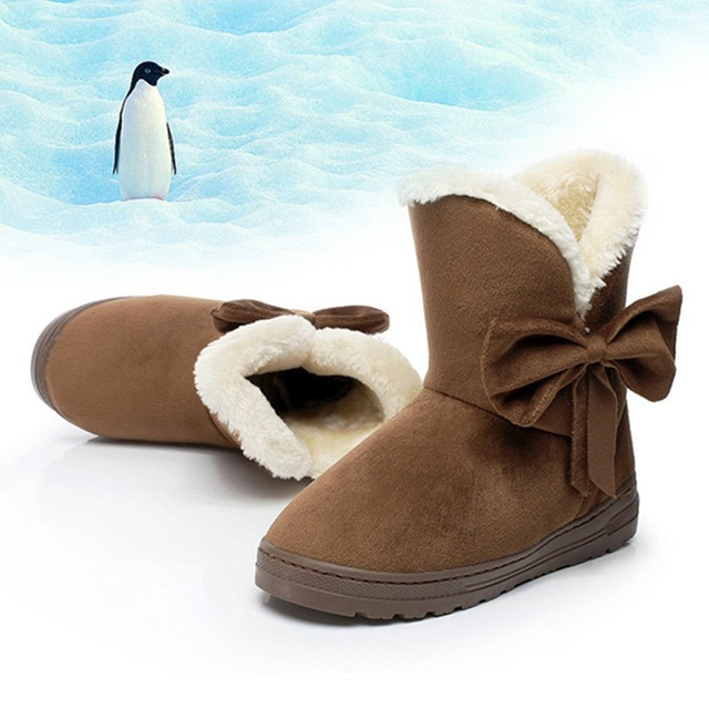 Women winter fashion solid snow boots female ankle boots with fur warm boot woman casual shoes botas femininas SOT905