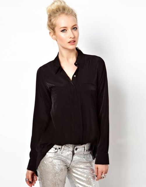 7460dc291ff Ladies Solid Black Sheer Back Slit Long Sleeve Plus Size Loose Chiffon  Blouse Button-Up Shirt Tops For Women