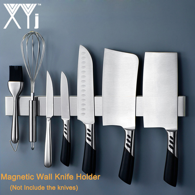 XYj Stainless Steel Magnetic Wall Knife Holder Rest Stand For Knives Bar Storage Block Save Space Magnet Kitchen Knife Holder