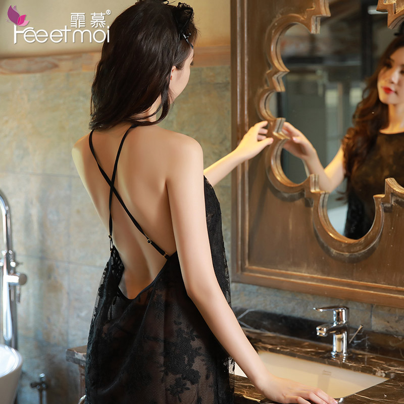 Porn Black <font><b>White</b></font> <font><b>Sexy</b></font> <font><b>Lingerie</b></font> See Through Lace Embroidery Backless Slip Sleeping Night <font><b>Dress</b></font> <font><b>Women</b></font> Nightgown <font><b>Babydoll</b></font> Sleepwear image